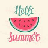 Vector print with watermelon and lettering. Hello summer. Stock Image