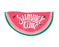 Vector print with watermelon and lettering. Summer Time . Stock Photo