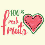 Vector print with watermelon and lettering. Typographic printable banner for summer design. Royalty Free Stock Images
