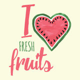 Vector print with watermelon and lettering. Typographic printable banner for summer design. Stock Photo