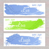Vector printable banners with hand drawn feathers with artistic brush stroke  and labels Stock Photos