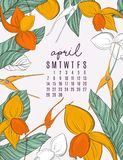 Vector printable 2019 calendar templates for april. Jungle flowers and leaves contrast illustration template. Abstract vector illustration