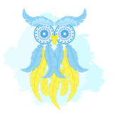 Vector printable fashion illustration of cartoon owl from hand drawn feather and mandala on watercolor background. Can be printed Stock Photography