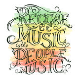 Vector printable hand drawn reggae lettring on watercolor background. Can be  printed on mug, pillow, t-shirt Royalty Free Stock Photography