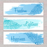 Vector printable hippie banners with hand drawn zentangle feathers with artistic brush stroke  and labels Royalty Free Stock Image