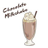 Vector printable illustration of isolated cup of chocolate milkshake with label Royalty Free Stock Photography
