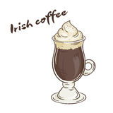 Vector printable illustration of isolated cup of irish coffee with label Stock Images