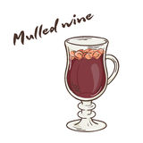 Vector printable illustration of isolated cup of mulled wine with label Stock Images