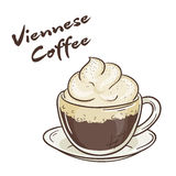 Vector printable illustration of isolated cup of viennese coffee with label Royalty Free Stock Image