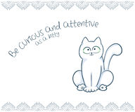 Vector printable illustration of nice gift postcard with  hand drawn cute cat and inspiration funny message Royalty Free Stock Image