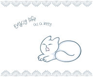 Vector printable illustration of nice gift postcard with  hand drawn cute cat and inspiration funny message Stock Image
