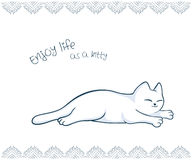 Vector printable illustration of nice gift postcard with  hand drawn cute cat and inspiration funny message Royalty Free Stock Photography