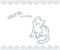Vector printable illustration of nice gift postcard with  hand drawn cute cat and inspiration funny message Stock Photo