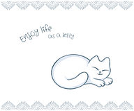 Vector printable illustration of nice gift postcard with  hand drawn cute cat and inspiration funny message Stock Photography