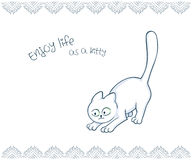 Vector printable illustration of nice gift postcard with  hand drawn cute cat and inspiration funny message Royalty Free Stock Photos