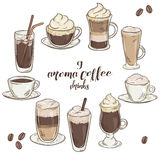 Vector printable illustration with set of  cup of coffee drinks. Stock Image