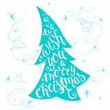 Vector printable inspiring christmas lettering quote on a christmas tree with snowflakes and serpentine. Can be printed on poster, Stock Photo
