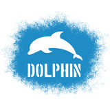 Vector printable sprayed illustration with jumping dolphin and label. Stock Images