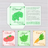 Vector printable template of seed packet with image, name and description of vegetables on wooden backdrop. Contains broccoli, tom Stock Photos