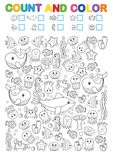 Math exercises for the study of numbers. Find, count and color. Printable worksheet for kindergarten and a preschool institution. Vector printable workshat Stock Image