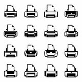 Vector Printer icon set stock illustration