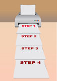 Vector printer. Vector illustration of a printer printing out papers Stock Images