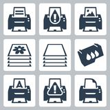 Vector printing, printer icons set Stock Images