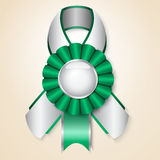 Vector prize ribbon. Green  prize ribbon with place for text Royalty Free Stock Image