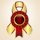 Vector prize ribbon. Red  prize ribbon with place for text Stock Photos