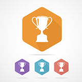 Vector prize Trophy cup flat icon. long shadow. Royalty Free Stock Photos