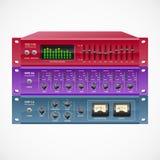 Vector pro audio rackmount gear set. Pro audio rackmount gear set, includes EQ, mic preamp, compressor - vector illustration vector illustration