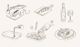 Vector process fish cooking sketch. Step by step process of cooking fish. Vector sketches Stock Images