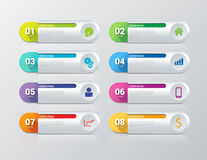 Vector process steps labels infographics template background. Simple multicolor 8 step process steps labels infographics mockup template. Infographic background Stock Photo
