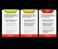Vector Product versions comparison cards royalty free illustration