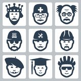 Vector profession/occupation icons set. Vector profession icons set: king, doctor and scientist, trucker, repairman, builder, artist, graduating student and Stock Photography
