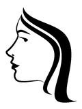 Vector profile of female. Art illustration stock illustration