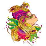 Vector profile girl face in carnival mask with outline golden peacock feathers, ornate collar and beads isolated on white back. Vector profile girl face in Stock Photos