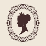 Vector profile silhouette of a princess in a frame Royalty Free Stock Photo