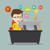 Vector of Programmer .web design on workstation desk. Royalty Free Stock Photos