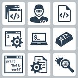 Vector programming and software development icons set Royalty Free Stock Images