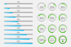 Vector progress bars elements. Bars elements set. Progress upload, web design template, vector illustration Stock Photos