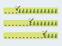 Vector progress bars with the loading of green tree. Vector progress bars with the loading of green. Concept of ecology. Vector illustration Royalty Free Stock Photos