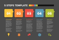 Vector progress five steps template Royalty Free Stock Image
