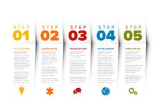 Vector progress five steps template Stock Image