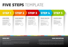 Vector progress five steps template. One two three four five - vector light progress steps template with descriptions and icons Royalty Free Stock Images