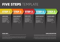 Vector progress five steps template. One two three four five - vector progress steps template with descriptions and icons Stock Photos