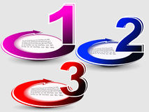 Vector progress product. Choice with numbers and description place in gray background Royalty Free Stock Images