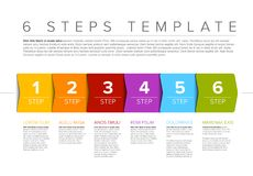 Vector progress six steps template. One two three four five six - vector progress steps template with descriptions Royalty Free Stock Photos