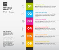 Vector progress six steps template. One two three four five six - vector progress template with six steps, descriptions and icons, vertical version Stock Images