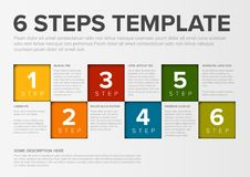 Vector progress six steps template. One two three four five six - vector squares progress steps template with descriptions and icons Royalty Free Stock Image